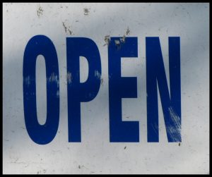 Sign that says OPEN