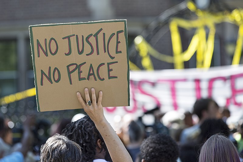800px-A_demonstrator_holds_a_No_Justice_No_Peace_sign_at_the_rally_for_Philando_Castile_outside_the_Governor's_residence_in_St_Paul_MN_7-7-2016_(28137456646)