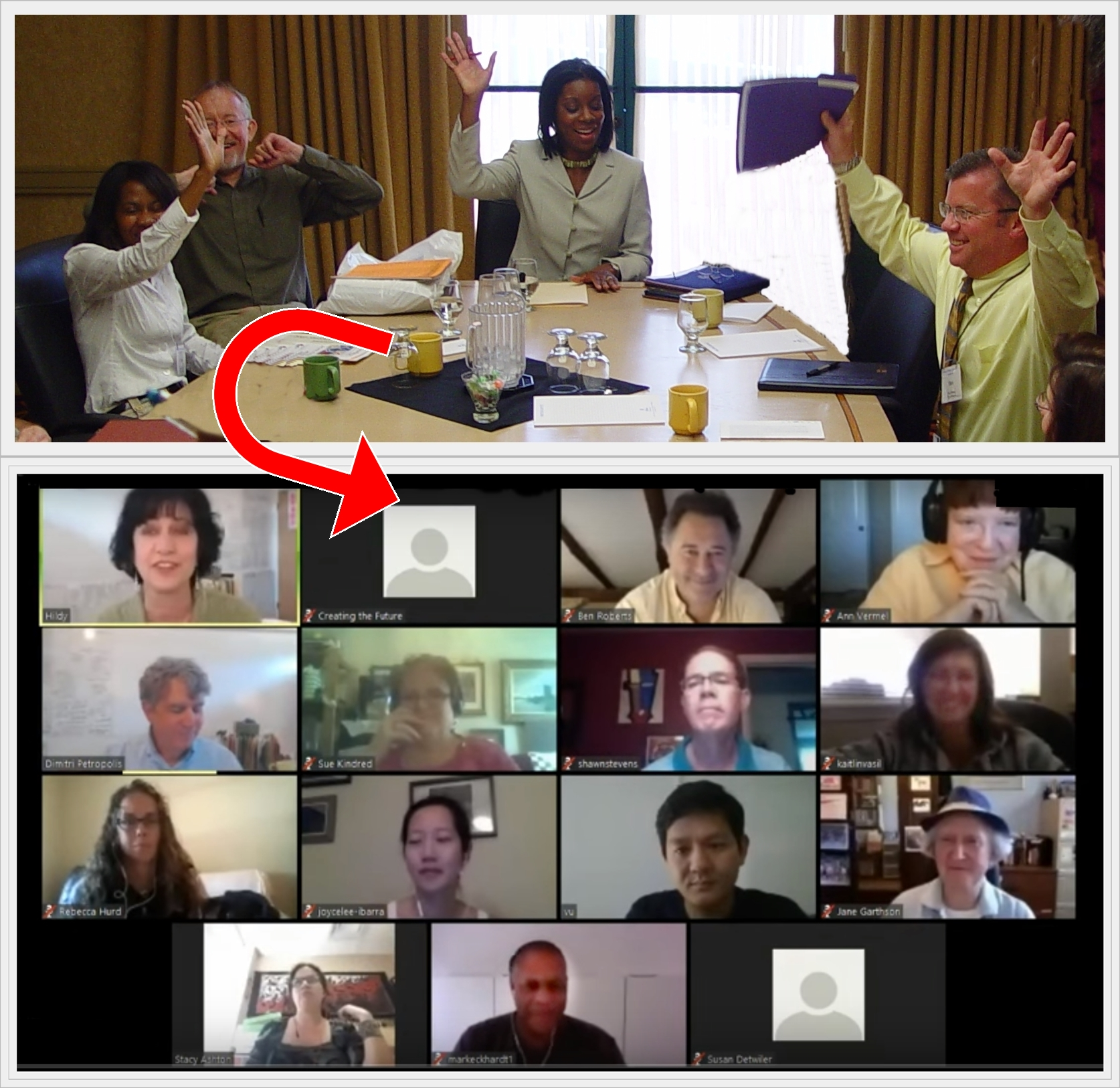 Collage - in person & online meetings