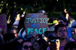 Protest Sign: No justice no peace