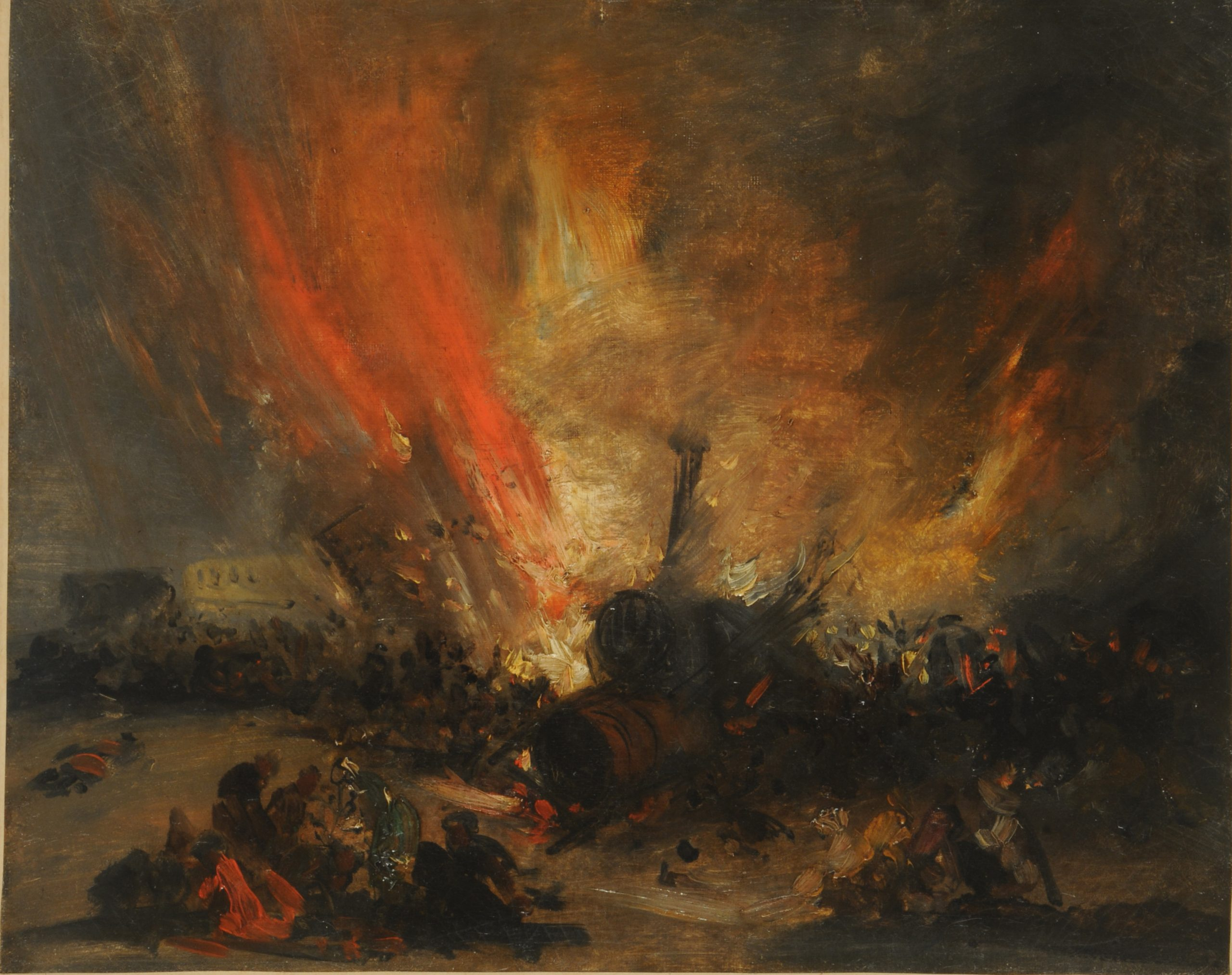 Oil painting of an explosion of a Locomotive. The train is almost lost in a blur of flames.
