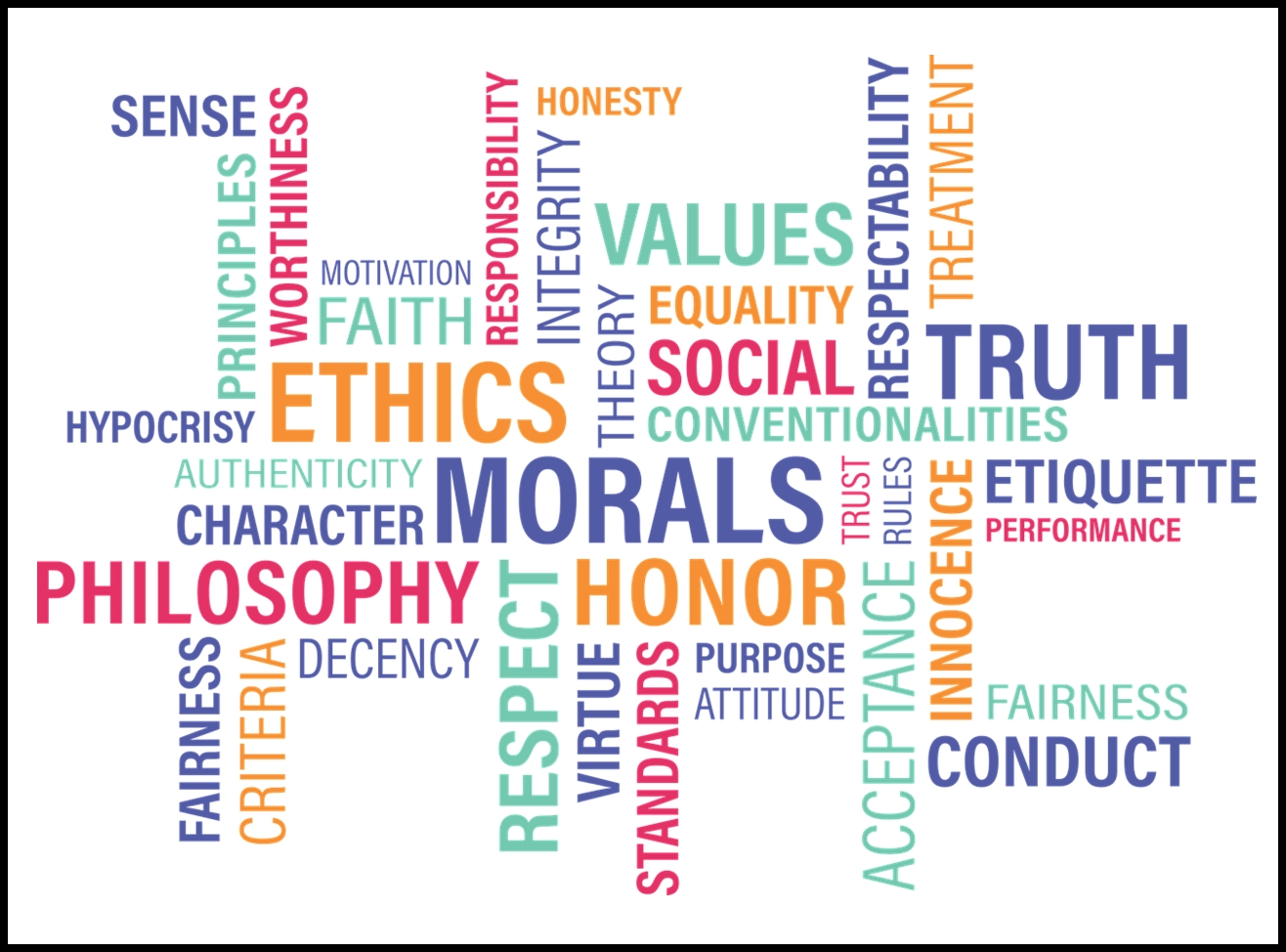Word cloud that includes ethics, morals, values, honor, respect, truth and approx 20 other words