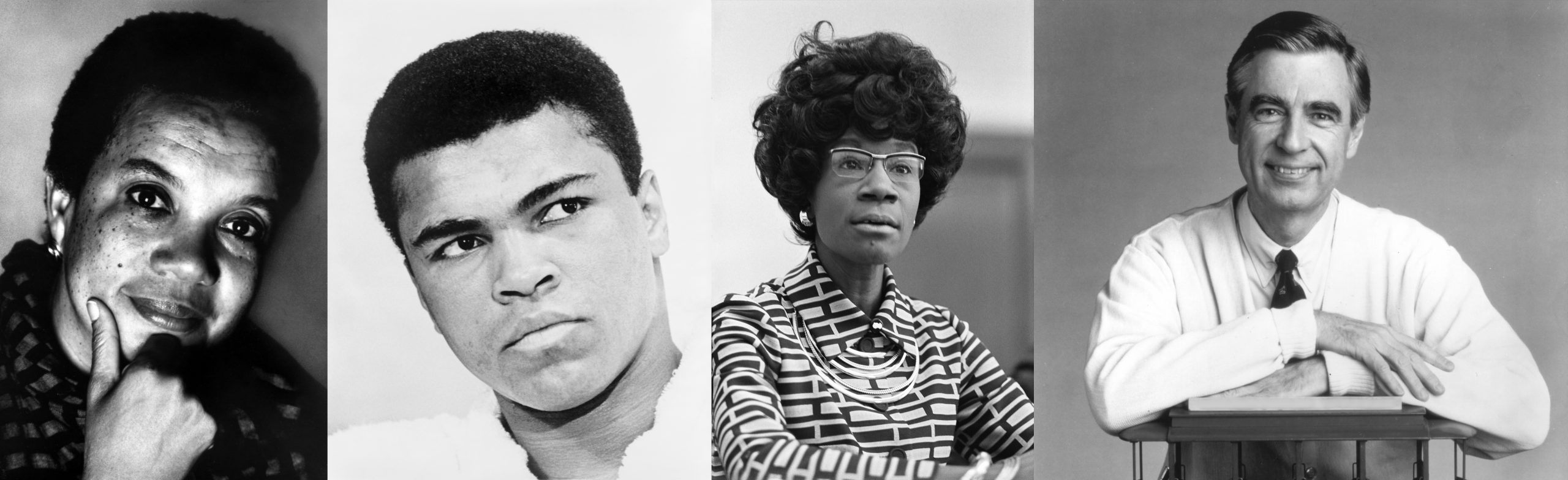 Collage of black & white images of Marian Wright Edelman, Muhammad Ali, Shirley Chisholm, Fred Rogers